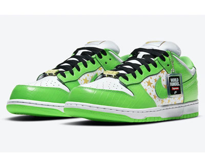 Supreme和Nike SB Dunk Low联名「Mean Green」白绿配色鞋款曝光
